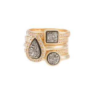 Marcia Moran Elements Stackable Druzy Ring Set of 5 GAN106