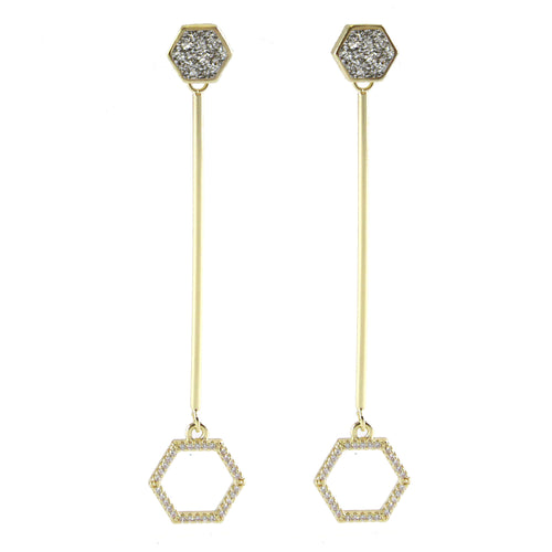 Augusta Minimal Hexagon Earrings