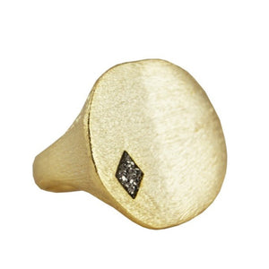 Marcia Moran Jetty GOLD ring with a dimond cutout titanium druzy r246 Gold stamp ring