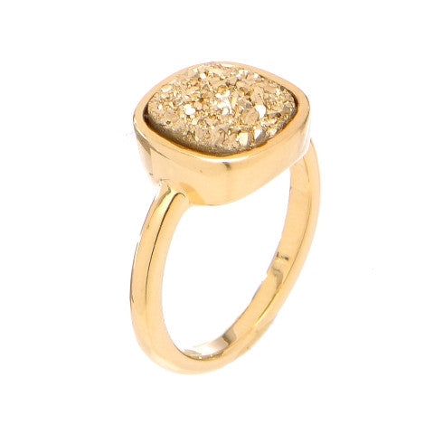 Fred Rounded Square Druzy RIng
