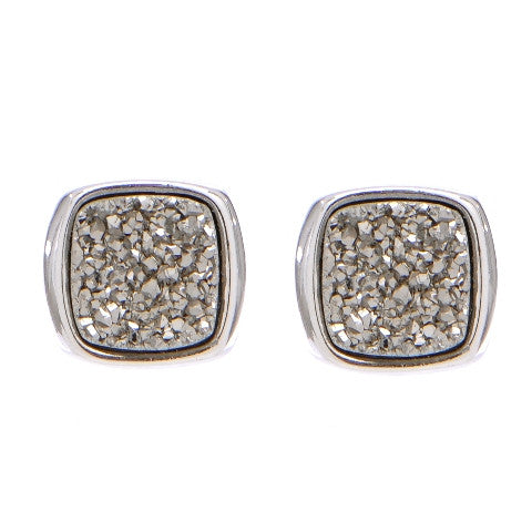 LBR108- Marcia Moran Antique Rounded Square Studs in Rhodium Titanium Druzy