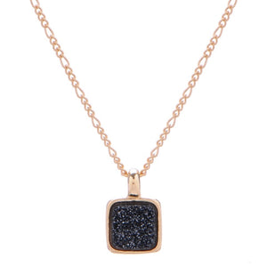 Marcia Moran Boxie LCL012s Square Druzy Necklace in Black Druzy Small Sparkly Dainty Square Charm Necklace