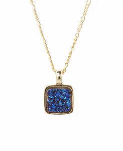 Marcia Moran Boxie LCL012s Square Druzy Necklace in Dark Blue Druzy Small Sparkly Dainty Square Charm Necklace