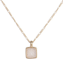 Marcia Moran Boxie LCL012s Square Druzy Necklace in Natural Druzy Small Sparkly Dainty Square Charm Necklace
