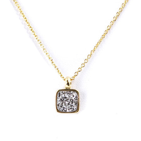 Marcia Moran Boxie LCL012s Square Druzy Necklace in Titanium Druzy Small Sparkly Dainty Square Charm Necklace