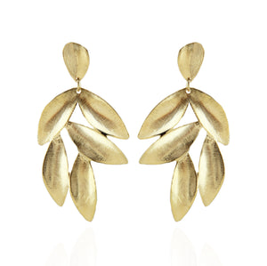 Gina Drop Leaf Motif Earrings