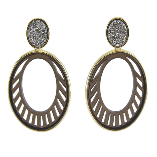 Joey Druzy And Oval Acrylic Cutout Earrings