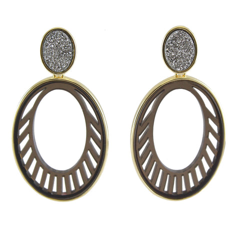 Joey Druzy And Oval Acrylic Cutout Earring