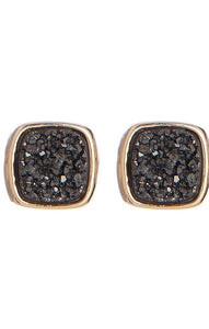 LBR108- Marcia Moran Antique Rounded Square Studs in Black Druzy