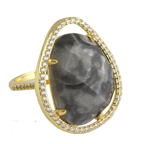 MARTY OFFSET STONE RING