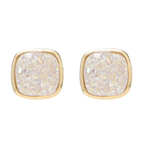 Marcia Moran Small Square Natural White Druzy Studs