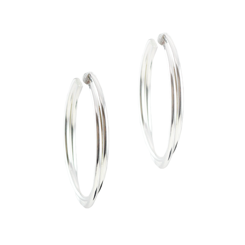 Melissa Sterling Silver Double Medium Hoops