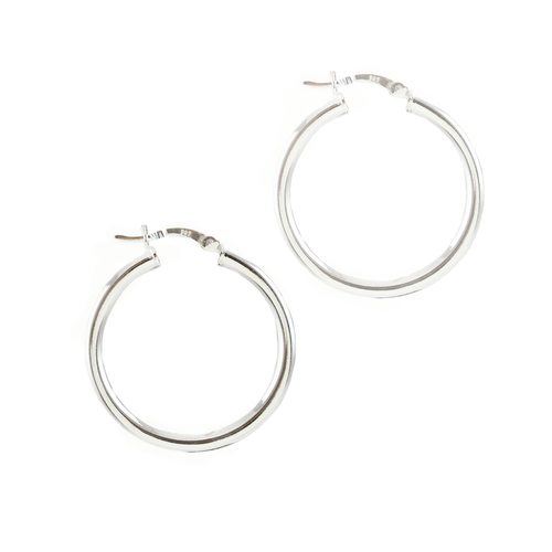 Nettie Sterling Silver Small Shiny Hoops