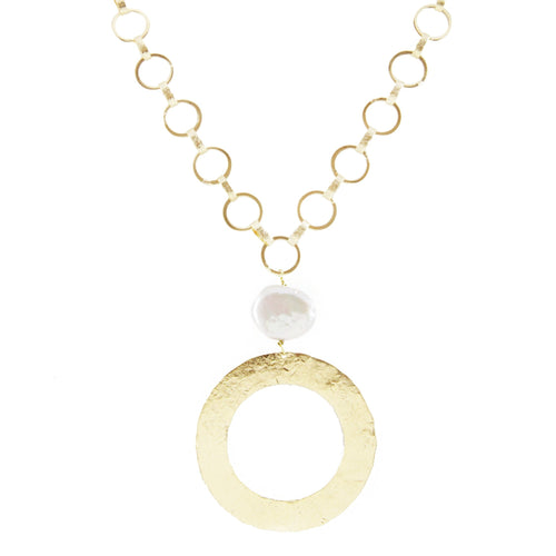 Marcia Moran 18k gold 18'' 18k gold plated multi-circle chain with a pearl charm and wavy oval pendant