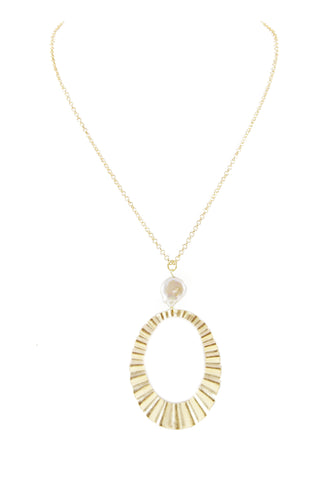 Marcia Moran 18k gold plated chain with a pearl charm and wavy oval pendant