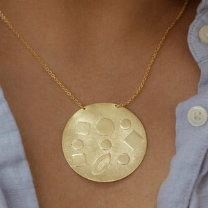 Vivien Embossed Coin Necklace