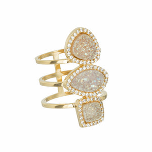 Marcia Moran Monet R210 Ring in Natural White Druzy