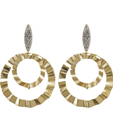 Marcia Moran Ricoleta gold double hoop earrings with titanium druzy posts