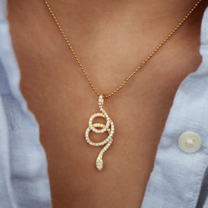 Phyton Snake Cubic Zirconia Necklace