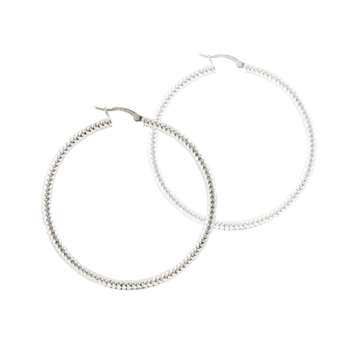 Jeana Sterling Silver Texture Hoops