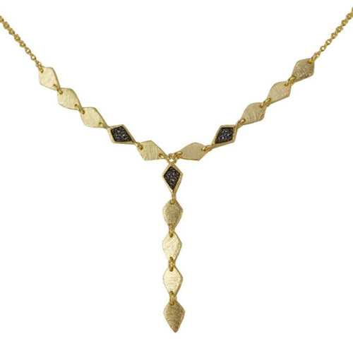 Marcia moran y necklace with druzy 18k gold and green, black, white