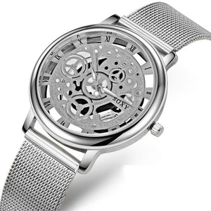 SOXY Luxury Skeleton Watches Men Watch Fashion Gold Watch Steel Mesh Watch - jazdiscount.com