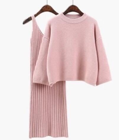 Woman Sweater + Straped Dress Sets Solid Color Female Casual Two-Pieces Suits Loose Sweater Knit Mini Dress Winter