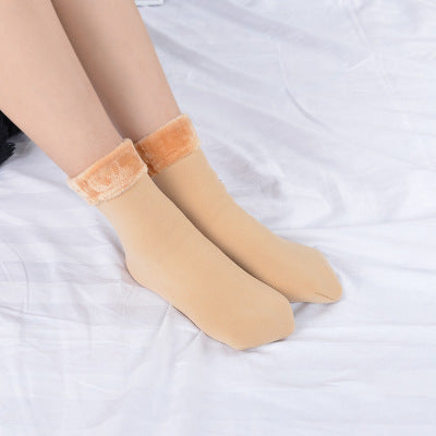 Winter Wamer Women Thicken Thermal Wool Cashmere Snow Socks Seamless Velvet Boots Floor Sleeping Socks for Mens - jazdiscount.com