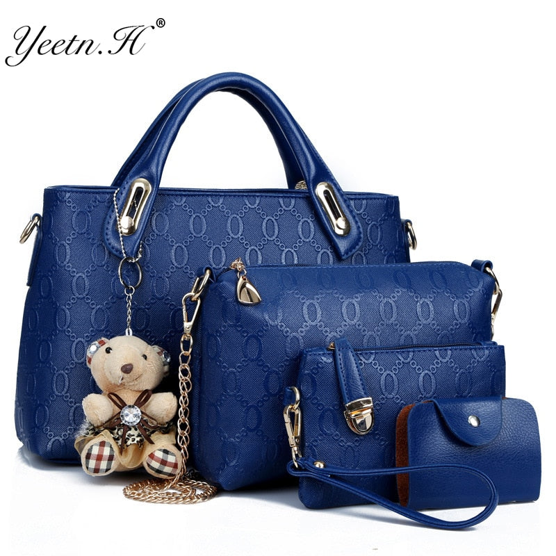 Yeetn.H Women 4 Set Handbags Pu Leather Fashion Designer Handbag Shoulder Bag Black Vintage Female Messenger Bag Sac A Main M129