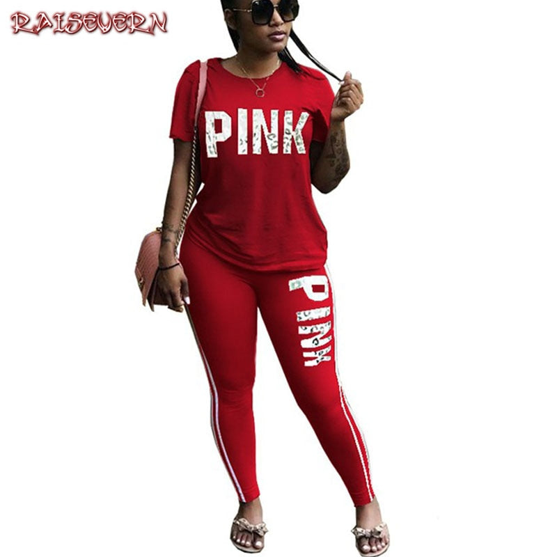 RAISEVERN Hot Letter Print Tracksuits Women Two Piece Set Spring Street t-shirt Tops and Jogger Set Suits Casual 2pcs Outfits - jazdiscount.com