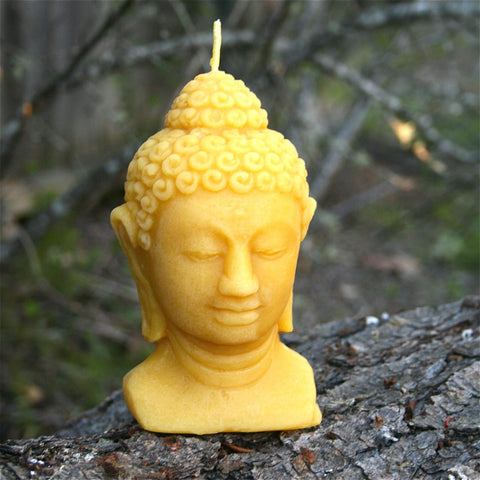 Large Buddha Head Bees Wax Candle - FREE SHIPPING