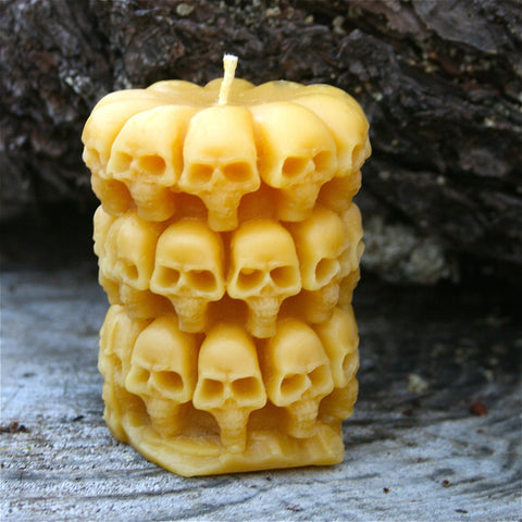 Pilllar Skull Bees Wax Candle - FREE SHIPPING