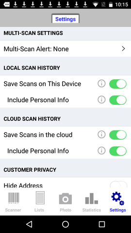 Android ID scanner app privacy settings