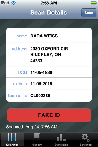 Fake ID Scan Warning