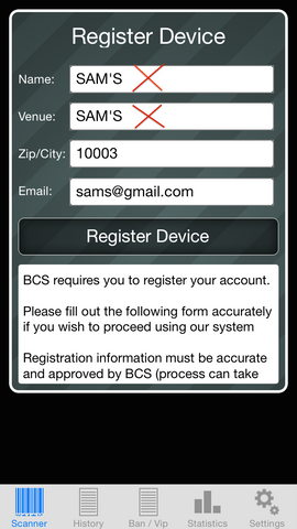ID Scanner registration