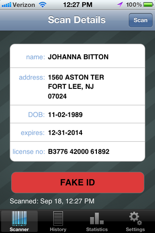 Fake Drivers License Scan