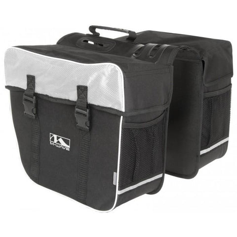 NA Cycles Amsterdam Double Bicycle Pannier Bag in Black/White 122802 - Electric Bikes For All