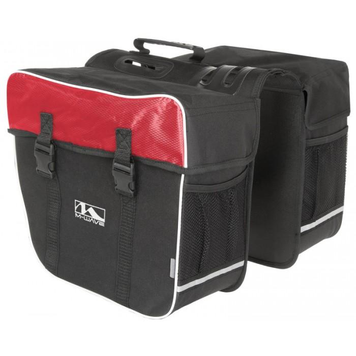NA Cycles Amsterdam Double Bicycle Pannier Bag in Black/Red 122803 - Electric Bikes For All
