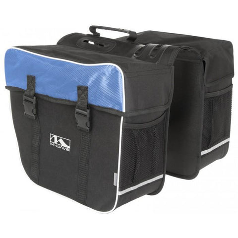 NA Cycles Amsterdam Double Bicycle Pannier Bag in Black/Blue 122804 - Electric Bikes For All