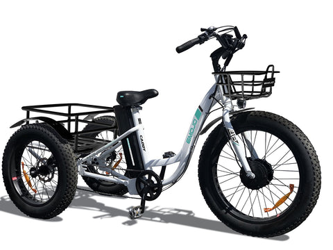 Emojo Caddy 500W Fat Tire Cargo E-Trike - Electric Bikes For All