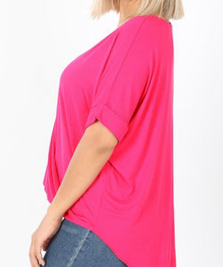 Hot Pink Overlap SS Blouse