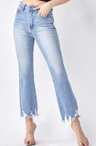 Light Denim HW Frayed Hem Ankle Flare Jeans