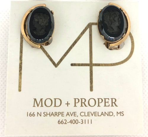 Earrings-Clip On Black Cameos MWST19