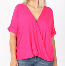 Load image into Gallery viewer, Hot Pink Overlap SS Blouse