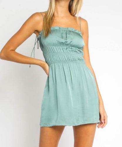 Sea foam Silk Smocked Tie back Dress