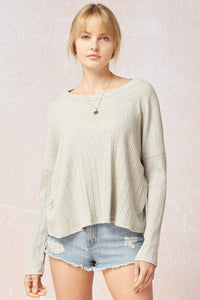 Heather Grey Boatneck Ribbed Top