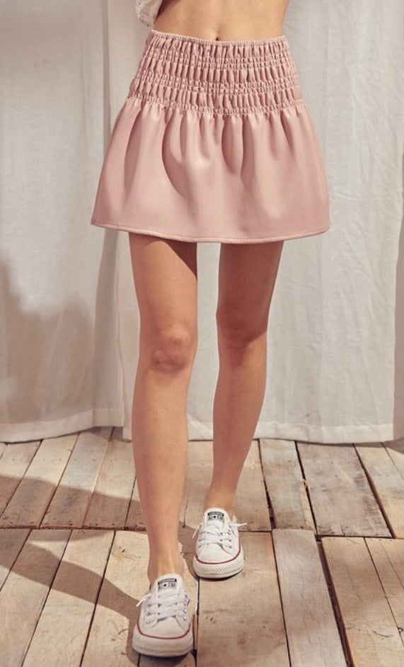 Pink Ruched Leather Mini Skirt