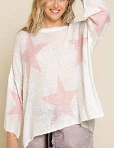 White/Pink LS Star Top