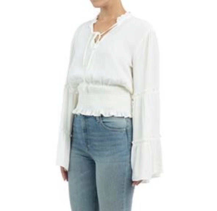 White V-Neck LS Smocked Waist Blouse w/ Bell Slvs