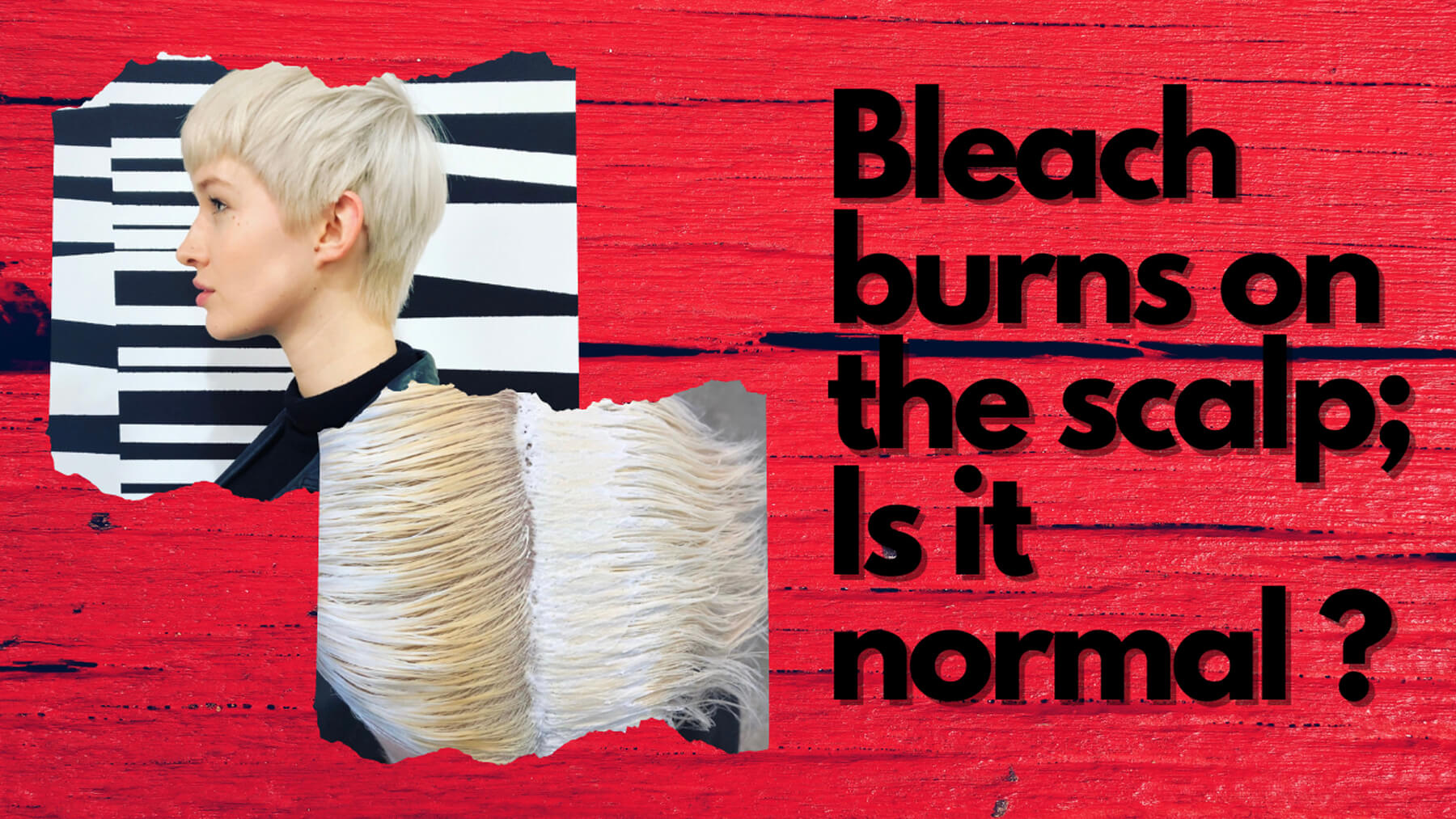 Bleach burns on the scalp graphic on red